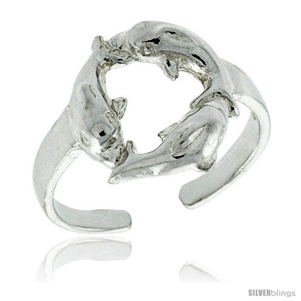 Sterling silver triple dolphin adjustable size 3 to 6 toe ring kids ring 1 2 in 12 mm wide