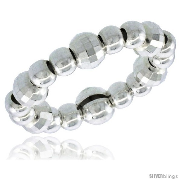 Sterling silver stretchable bead toe ring kids ring on elastic white band 5 32 in 4 mm wide