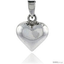 Sterling Silver High Polished Small 9/16in  Puffed Heart, with 18in  Box  - $30.17