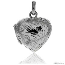 Sterling Silver Hand Engraved 13/16in  Puffed Heart, with 18in  Box  - $33.05