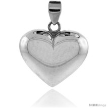 Sterling Silver High Polished 1in  Puffed Heart, with 18in  Box  - $38.81