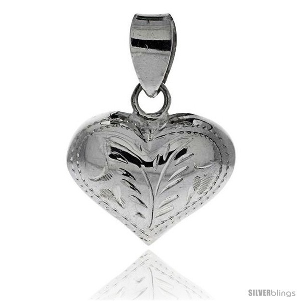 Primary image for Sterling Silver Hand Engraved 11/16in  Puffed Heart, with 18in  Box