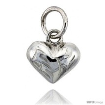 Sterling Silver Hand Engraved Tiny 3/8in  Puffed Heart, with 18in  Box c... - $27.29