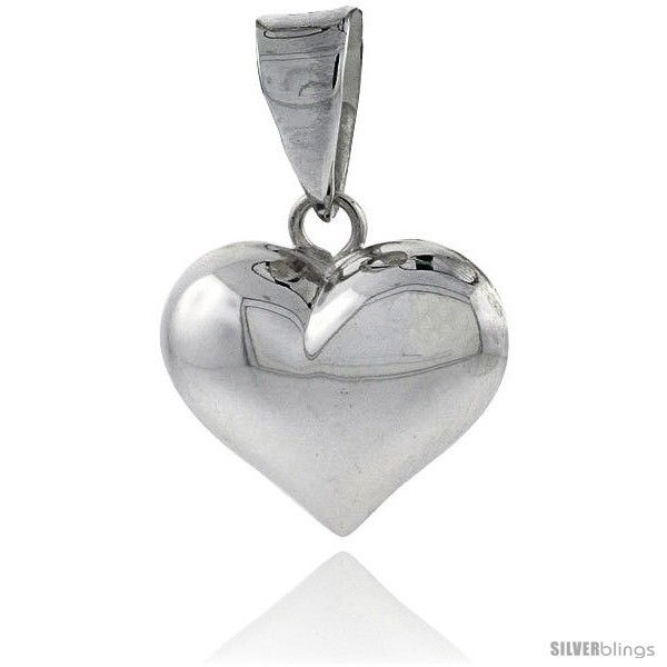 Primary image for Sterling Silver High Polished 11/16in  Puffed Heart, with 18in  Box