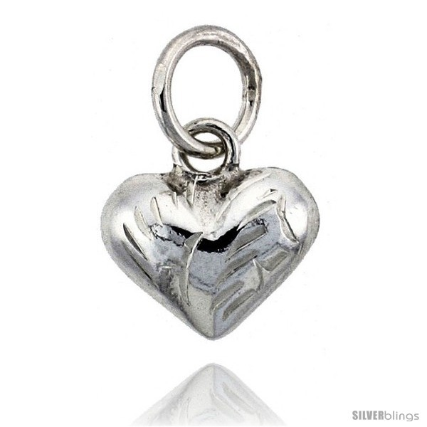 Sterling Silver Hand Engraved Tiny 3/8in  Puffed Heart, with 18in  Box chain.