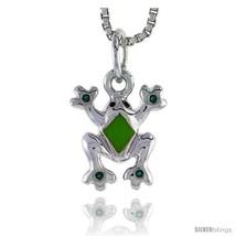 Sterling Silver Child Size Frog Pendant, w/ Green Enamel Design, 1/2in  ... - $18.65