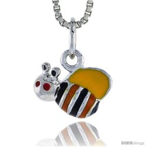 Sterling Silver Child Size Bumble Bee Pendant, w/ Yellow, Black & Orange... - $18.65