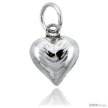 Sterling Silver Hand Engraved Tiny 3/8in  Puffed Heart, with 18in  Box  - $27.29