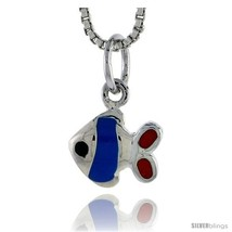 Sterling Silver Child Size Fish Pendant, w/ Blue & Red Enamel Design, 7/... - $15.77