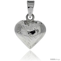 Sterling Silver Hand Engraved Small 9/16in  Puffed Heart, with 18in  Box  - $30.17