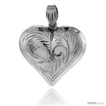 Sterling Silver Hand Engraved Very Large 1 1/4in  Hollow Puffed Heart, with 18in - $31.61