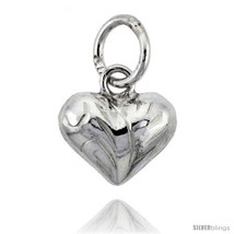 Sterling Silver Hand Engraved Tiny 5/16in  Puffed Heart, with 18in  Box  - $27.29