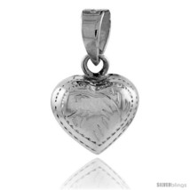 Sterling Silver Hand Engraved Small 1/2in  Puffed Heart, with 18in  Box  - $28.73
