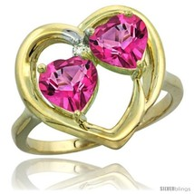 Size 6.5 - 10k Yellow Gold 2-Stone Heart Ring 6 mm Natural Pink Topaz  - $314.72