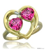 Size 6.5 - 10k Yellow Gold 2-Stone Heart Ring 6 mm Natural Pink Topaz  - £239.25 GBP