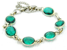 VTG Gold Tone Green Rhinestone Clasp Bracelet with Safety Chain - $19.80