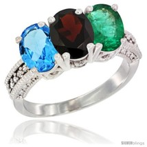 An item in the Jewelry & Watches category: Size 9 - 14K White Gold Natural Swiss Blue Topaz, Garnet & Emerald Ring 3-Stone