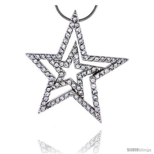 Sterling silver jeweled star pendant w cubic zirconia stones 1 7 16 37 mm tall