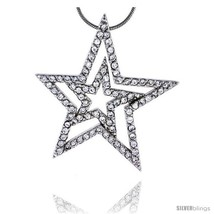 Sterling Silver Jeweled Star Pendant, w/ Cubic Zirconia stones, 1 7/16in... - $124.02