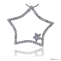 Sterling Silver Jeweled Star Pendant, w/ Cubic Zirconia stones, 1 7/16in... - $79.09
