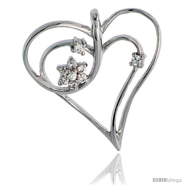 Sterling silver jeweled heart pendant w cubic zirconia stones 1 1 8 29 mm