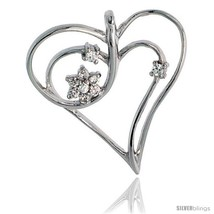 Sterling Silver Jeweled Heart Pendant, w/ Cubic Zirconia stones, 1 1/8in... - $44.83