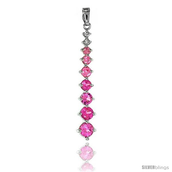 Sterling Silver Jeweled Pendant, w/ Round Pink Cubic Zirconia, 1 13/16 (46