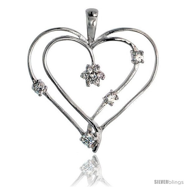 Sterling silver jeweled heart pendant w cubic zirconia stones 1 3 8 34 mm