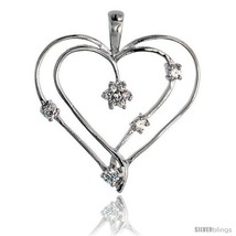 Sterling Silver Jeweled Heart Pendant, w/ Cubic Zirconia stones, 1 3/8in... - $46.70