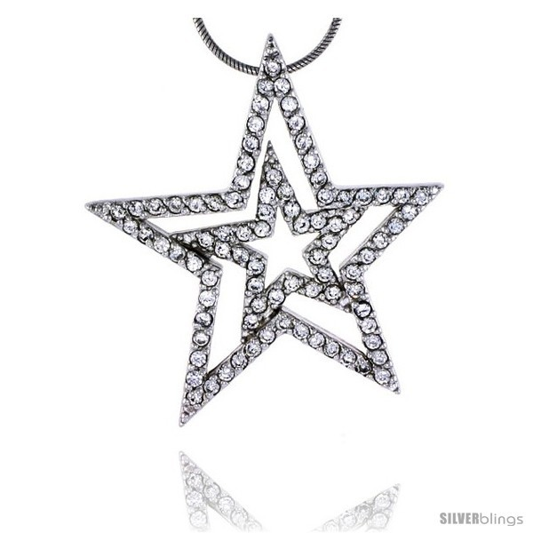 Sterling Silver Jeweled Star Pendant, w/ Cubic Zirconia stones, 1 7/16in  (37 mm