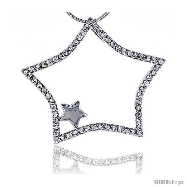 Sterling Silver Jeweled Star Pendant, w/ Cubic Zirconia stones, 1 7/16in  (36 mm