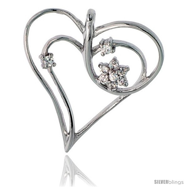 Sterling Silver Jeweled Heart Pendant, w/ Cubic Zirconia stones, 1 1/8in  (29