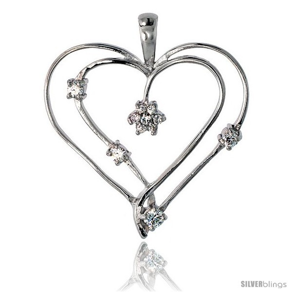 Sterling Silver Jeweled Heart Pendant, w/ Cubic Zirconia stones, 1 3/8in  (34
