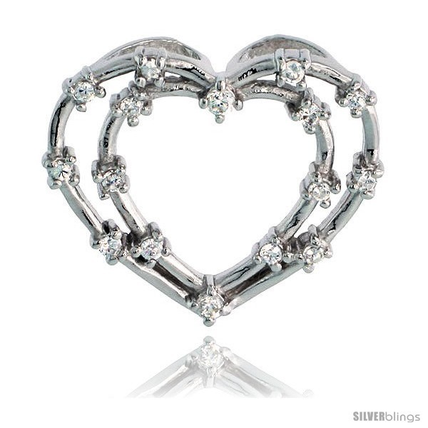 Sterling silver jeweled heart pendant w cubic zirconia stones 15 16 23 mm
