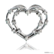Sterling Silver jeweled Heart Pendant, w/ Cubic Zirconia stones, 15/16in... - $45.40