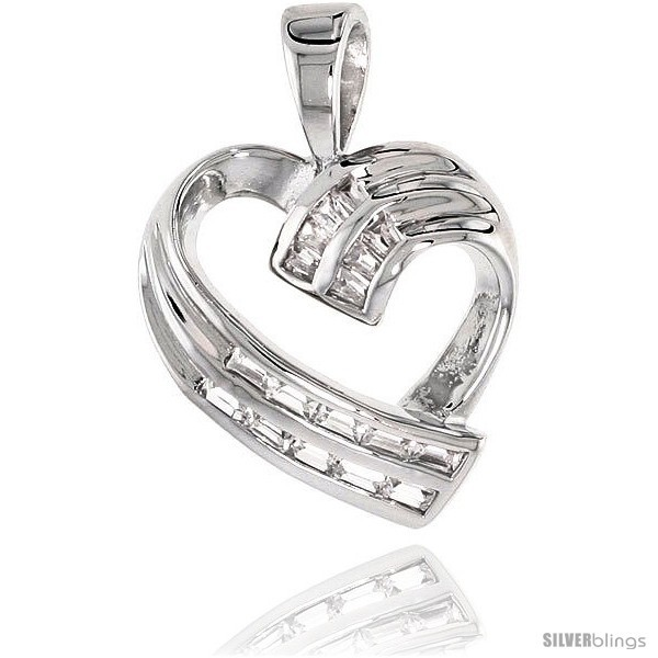 Sterling silver jeweled heart pendant w baguette cubic zirconia 3 4 20 mm