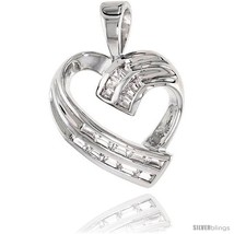 Sterling Silver Jeweled Heart Pendant, w/ Baguette Cubic Zirconia, 3/4 (20  - $67.30
