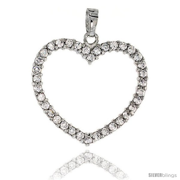 Sterling silver jeweled heart pendant w cubic zirconia stones 1 1 8 28 mm style tp6675