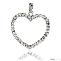 Sterling Silver Jeweled Heart Pendant, w/ Cubic Zirconia stones, 1 1/8 (... - $56.63