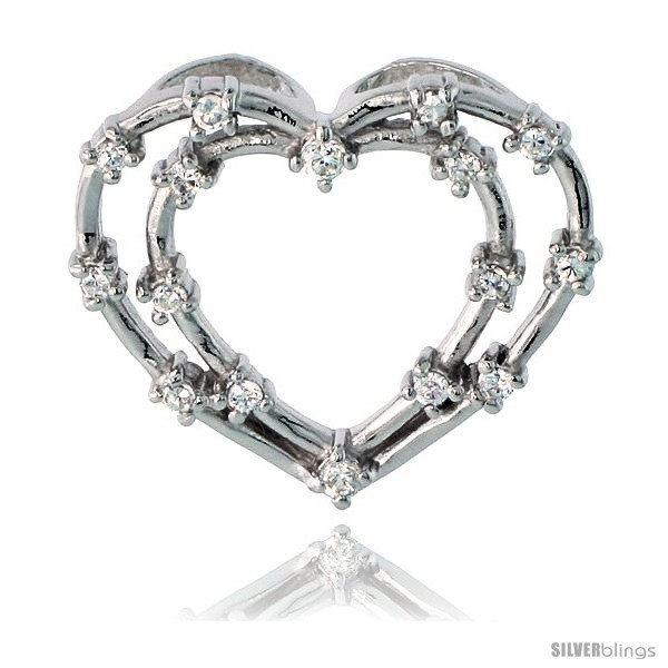 Sterling Silver jeweled Heart Pendant, w/ Cubic Zirconia stones, 15/16in  (23