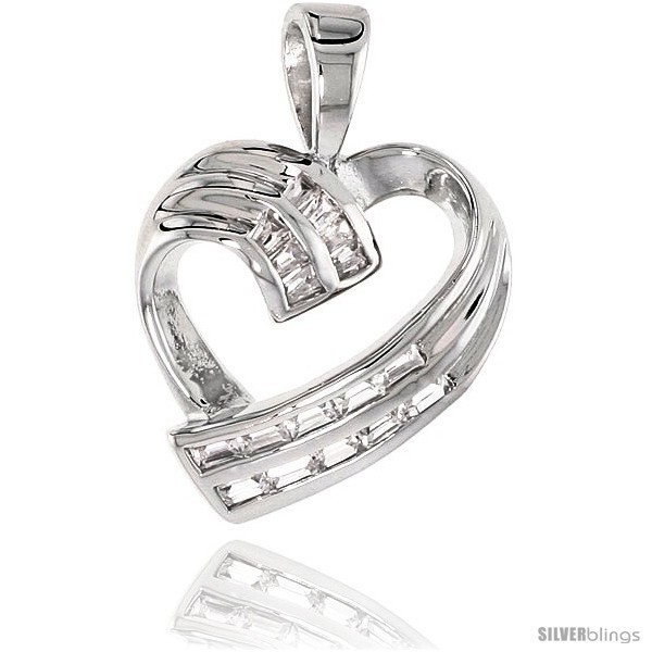 Sterling Silver Jeweled Heart Pendant, w/ Baguette Cubic Zirconia, 3/4 (20