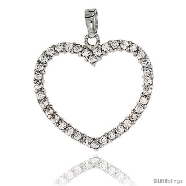 Sterling Silver Jeweled Heart Pendant, w/ Cubic Zirconia stones, 1 1/8 (28 mm)