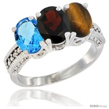 Size 10 - 14K White Gold Natural Swiss Blue Topaz, Garnet & Tiger Eye Ring  - $712.53