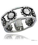 Sterling silver sunflower link ring band 11 32 in 8 5 mm wide thumbtall