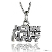 Sterling Silver JOIN THE NAVY Word Necklace, w/ 18 in Box  - $44.40