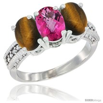 Size 9.5 - 10K White Gold Natural Pink Topaz & Tiger Eye Ring 3-Stone Ov... - $531.76