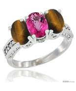 Size 9 - 10K White Gold Natural Pink Topaz & Tiger Eye Ring 3-Stone Oval... - £404.25 GBP