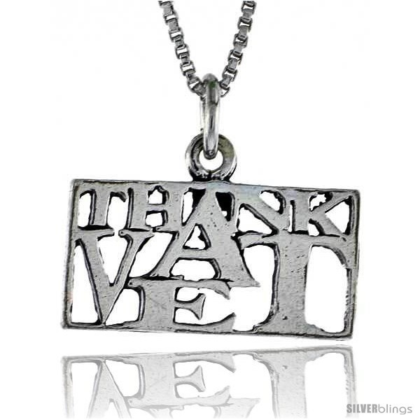 Primary image for Sterling Silver THANK A VET Word Necklace, w/ 18 in Box