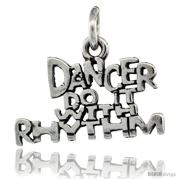 Primary image for Sterling Silver DANCER DO IT WITH RHYTHM Word Necklace, w/ 18 in Box