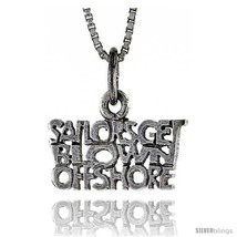 Sterling Silver SAILORS GET BLOWN OFFSHORE Word Necklace, w/ 18 in Box  - $44.40